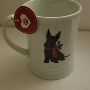 Merry Christmas Black Scotty Dog White Coffee Mug